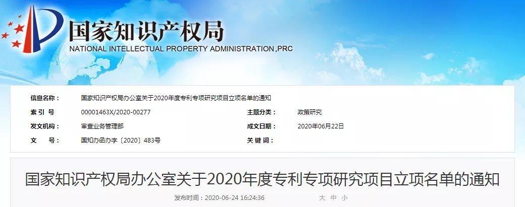 蓝晓科技成功获批国知局2020年度专利专项研究项目